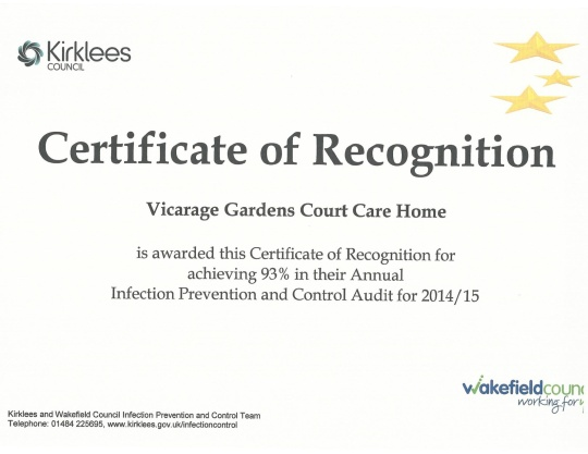 infection control 2014 certificate